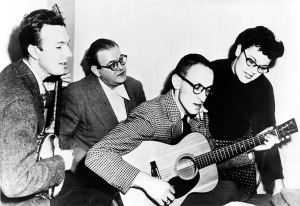 Pete Seeger, left,  with his folk group The Weavers, made up of Lee Hayes,