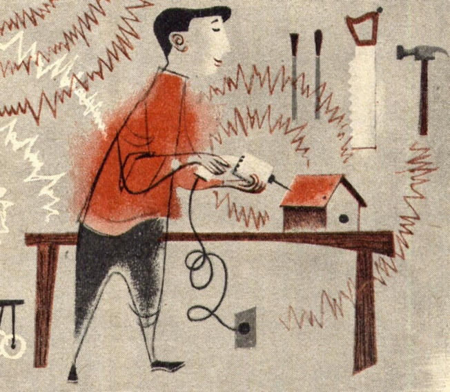 You Can Make Your Home Less Noisy dad's workshop detail, Parents' Magazine, 1961