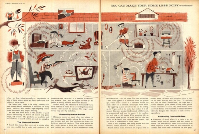 You Can Make Your Home Less Noisy full illustration, Parents' Magazine, 1961
